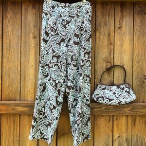 (2pcs) Dressy stamped pants with purse